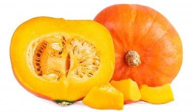 Hokkaido pumpkin halved top and tailed