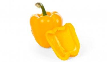 Yellow bell pepper halved